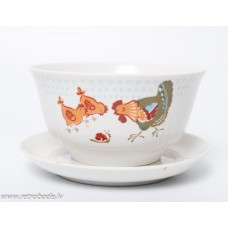 Porcelāna bērnu piāla un apakštase,  Rīgas porcelāns, RPR