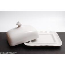 Porcelāna sviesta trauks, RPR, Rīgas porcelāns