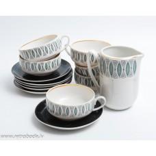 """Porcelāna kafijas servīze nepilna, """"Saulīte"""" tases, apakštases, krējuma trauks PFF"""