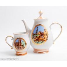 Porcelāna kafijas kanna un tase, Rīga,  RPR, Rīgas porcelāns