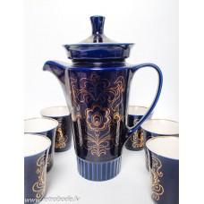 Porcelāna servīze, 6 krūzes un liela kafijas kanna, kobalts