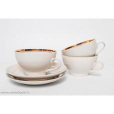 Porcelāna tējas tases un apakštases, Regīna, PFF