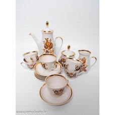 Porcelāna kafijas servīze Marianna 6 personām, tases, cukurtrauks, kafijas kanna, krejuma trauks RPR