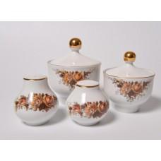 Porcelāna garšvielu trauku komplekts sāls, piparu un sinepju trauks, Henneberg Porzellan 1777