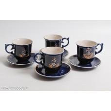 Komplekts 4 gab Porcelāna kafijas tases, kobalts