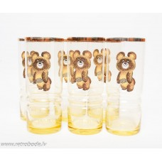 Komplekts 6 gab. Stikla glāzes, Olimpiskais Lācītis, Latvijas stikls