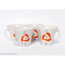 """4. gab. Porcelāna kafijas tases """"Stella"""", PFF, Rīgas porcelāns"""