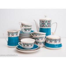 """Porcelāna kafijas servīze 6 personam, """"Vasara"""" tases, apakštases, kafijas kanna, krējuma trauks RPR"""