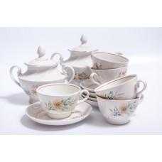 Porcelāna tējas servīze 5 personām, tases, apakštases, cukurtrauks, tējkanna, RPR