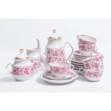 Porcelāna kafijas servīze 6 personām, tases, cukurtrauks, kafijas kanna, krejuma trauks RPR