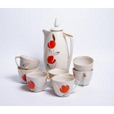Porcelāna kafijas kanna un tases no servīzes Daina, PFF, Rīgas porcelāns