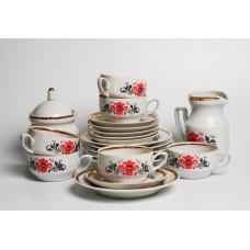 Porcelāna kafijas servīze Aija-2. 6 personām, tases, apakštases, krējuma trauks, cukurtrauks