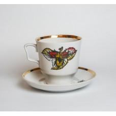 Liela porcelāna tējas krūze un apakštase, RPR, Rīgas porcelāns