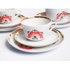 """Komplekts Porcelāna kafijas tase, apakštase un deserta šķīvis no servīzes """"Vasara"""", RPR"""