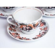Porcelāna tase un apakštase no kafijas servīzes, RPR