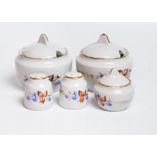 Porcelāna garšvielu trauku komplekts, 2 mērces trauki, sāls, piparu un sinepju trauks, RPR, Rīgas porcelāns
