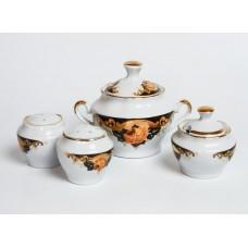 Porcelāna garšvielu trauku komplekts, mērces trauks, sāls, piparu un sinepju trauks, RPR, Rīgas porcelāns