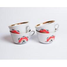 """Komplekts 4 gab. Porcelāna kafijas tases no servīzes """"Vasara"""", RPR"""