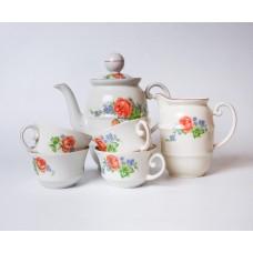 Porcelāna kafijas kanna, krejuma trauks un tases no servīzes Ping Pong, PFF, Rīgas porcelāns