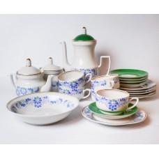 Porcelāna kafijas tējas servīze Aija-2. 5 personām, tases, apakštases, tējkanna, cukurtrauks