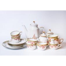 Porcelāna kafijas tējas servīze Karina, nepilna, tases, apakštases, tējkanna, krējuma trauks, cukurtrauks