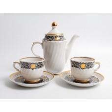 Porcelāna kafijas komplekts 2 personām, Duets, tases un kafijas kanna, RPR