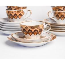 Komplekts 6 gab. Porcelāna tases, apakštases un deserta šķīvji, daļa no kafijas servīzes Arija, RPR