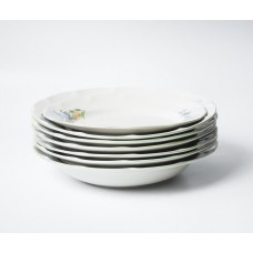 Komplekts 6 gab. Porcelāna zupas šķīvji un 1 gab. pusdienu šķīvis, RPR Rīgas porcelāns