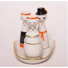 """Porcelāna garšvielu trauku komplekts """"Rotaļa"""", sāls, piparu un sinepju trauks, RPR"""