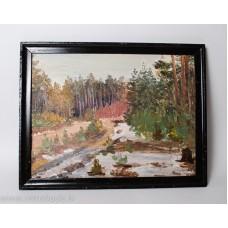 Glezna A.Kristiņš, eļļa, kartons, meža ainavas