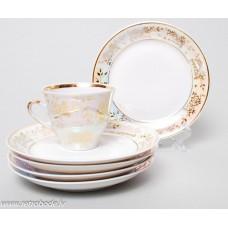 Komplekts 5 gab. Porcelāna apakštases no kafijas servīzes Marianna