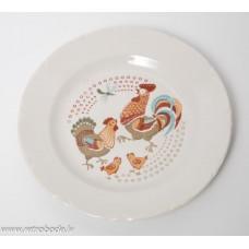 Bērnu porcelāna šķīvis, Gailis, RPR