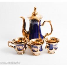 Porcelāna kafijas kanna un 3 tases, kobalts, zeltijums