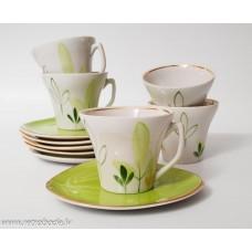 Porcelāna tējas vai kafijas komplekts, tases un apakštases, PFF