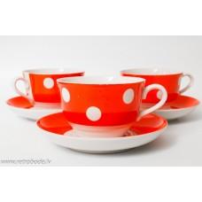 3 gab. Porcelāna tējas vai kafijas komplekts, tases un apakštases, punktots, RPP