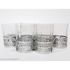 6 gab. Komplekts, metāla glāzu turētāji ar glāzēm