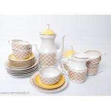 Porcelāna kafijas servīze Aija-2. 6 personām, tases, apakštases, kafijas kanna, krējuma trauks, cukurtrauks