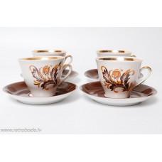 4 gab. Komplekts, porcelāna kafijas tase un apakštase, RPR, Rīgas porcelāns