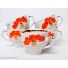 Komplekts 5 gab. Porcelāna tējas tases, apgleznojums, Baranovas porcelāna rūpnīca