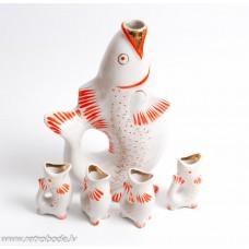 """Porcelāna karafe, krūka un 4 glāzes """"Zivs"""" Poloņas mākslas keramikas fabrika"""