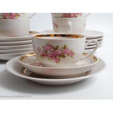 6 gab. Porcelāna tējas vai kafijas komplekts, tases un apakštases, RPP