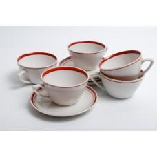 """Porcelāna kafijas tases un apakštases """" Ausma"""", PFF, Rīgas porcelāns"""