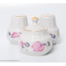 Porcelāna garšvielu trauku komplekts sāls, piparu un sinepju trauks, RPR, Rīgas porcelāns