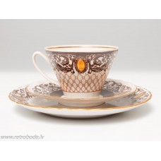 Komplekts, porcelāna kafijas tase un divas apakštases, RPR, Rīgas porcelāns