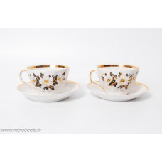 Komplekts, 2 gab. porcelāna kafijas tase un apakštase, RPR, Rīgas porcelāns