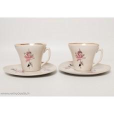 2 gab. Porcelāna tējas vai kafijas komplekts, tases un apakštases, PFF