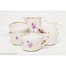 5. gab. Porcelāna kafijas tases un krējuma trauks, apgleznojums, RPR, Rīgas porcelāns