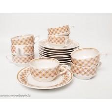 Porcelāna tējas servīze Aija-2. tases, apakštases, RPR