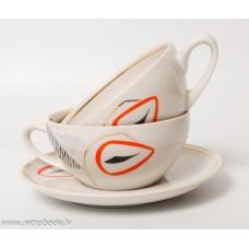 Porcelāna tējas vai kafijas komplekts, 2 tases un 1 apakštase, PFF