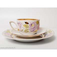 Komplekts, porcelāna kafijas tase un apakštase, roku apgleznojums